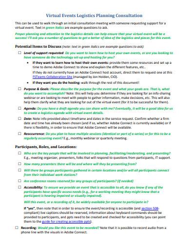 consultation events logistics planning template
