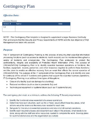 contingency plan in pdf