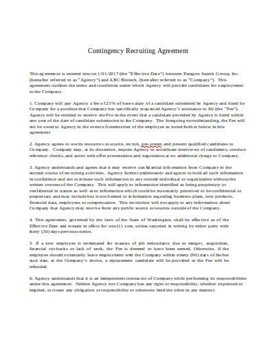 contingency recruitment agency agreement