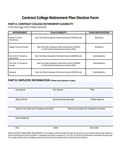 contract college retirement plan election form