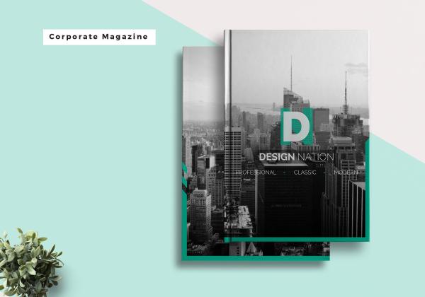 corporate magazine mock up