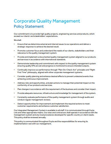 corporate quality management policy statement