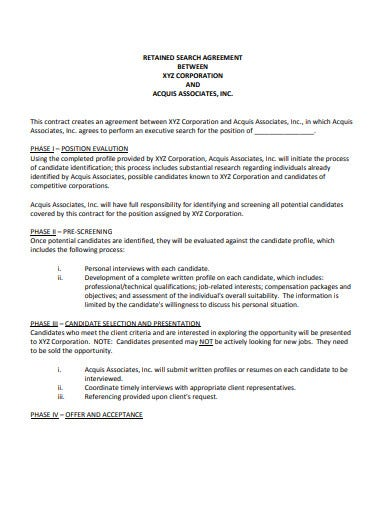 corporation retained search agreement