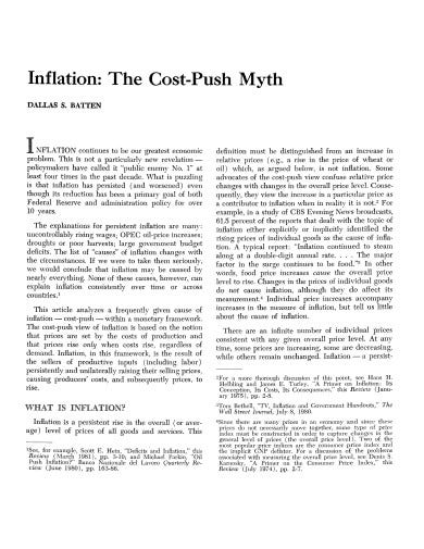cost push inflation template