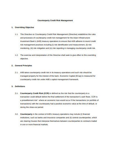 counterparty credit risk management template