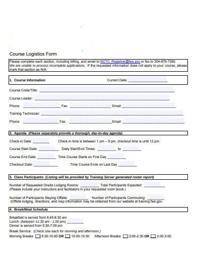 course logistics form