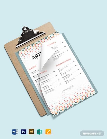 creative burger menu template