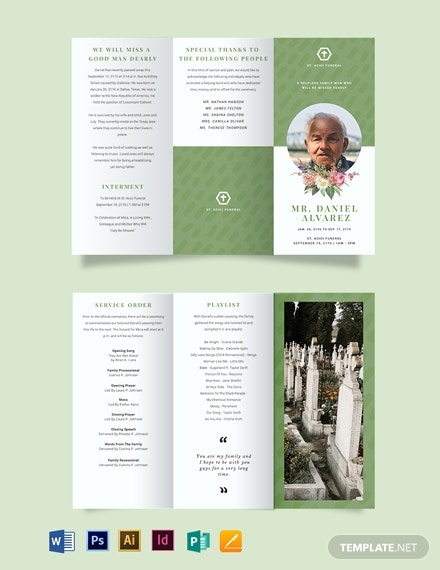 creative eulogy funeral tri fold brochure template