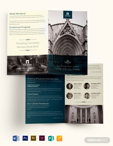 crematory funeral home bi fold brochure template