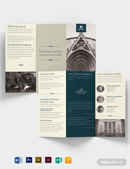 crematory funeral home tri fold brochure template