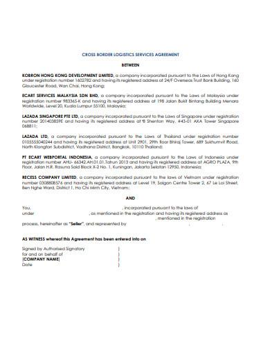 cross border logistic service agreement