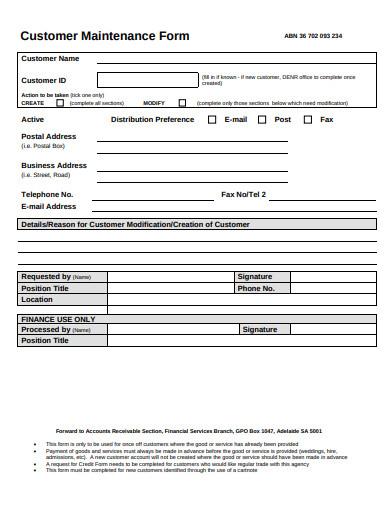 customer maintenance form