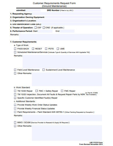 customer requirements maintenance request form