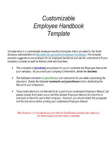 customizable office employee handbook