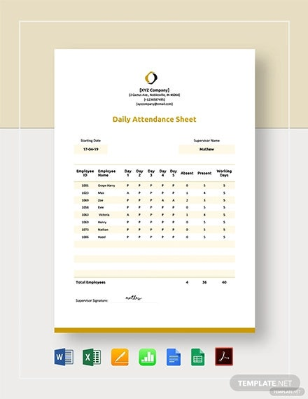 daily attendance sheet template1