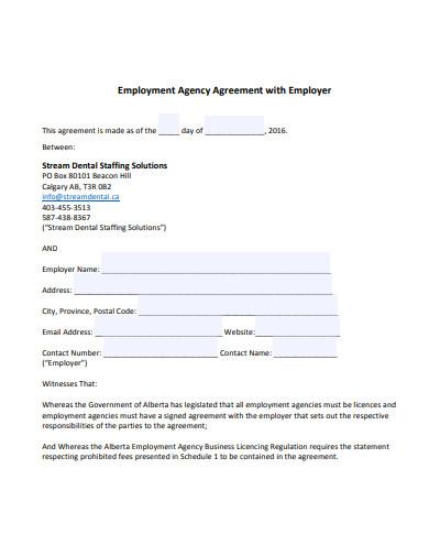 dental staffing agency agreement