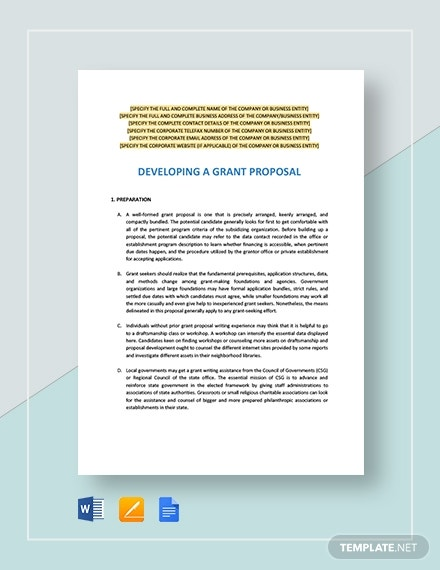 developing a grant proposal