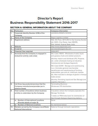 director logistics report statement