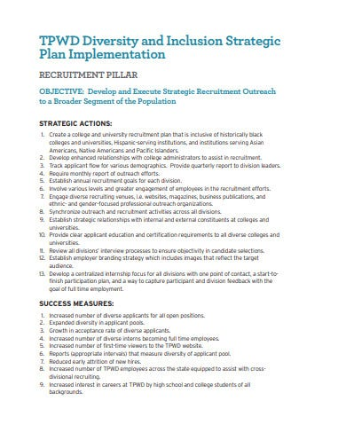 diversity recruitment inclusion plan