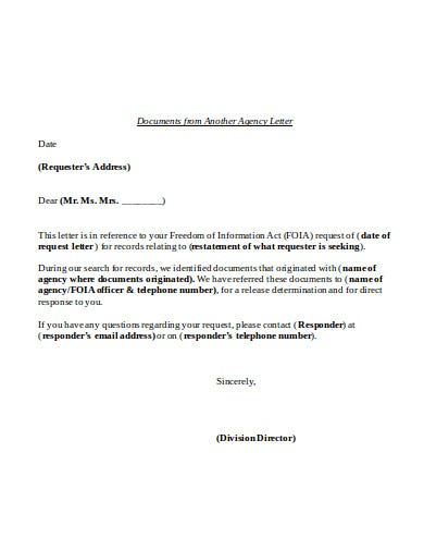 document from another agency letter template