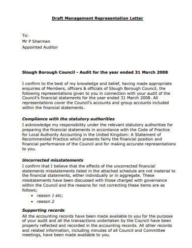 draft management representation letter template