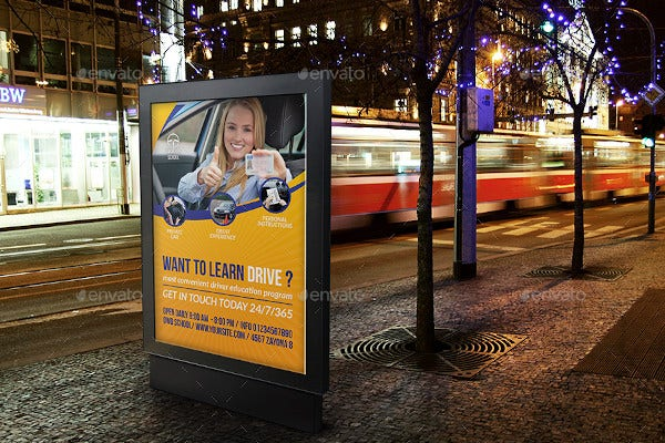driving school advertising poster template
