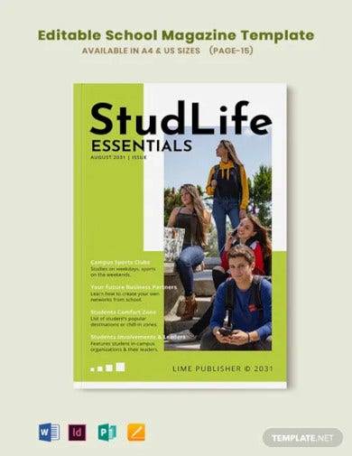 editable school magazine template