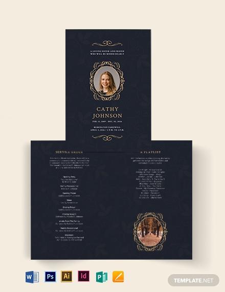 elegant funeral obituary bi fold brochure template