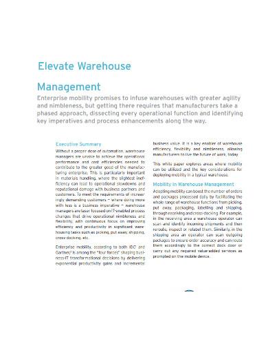 elevate warehouse management