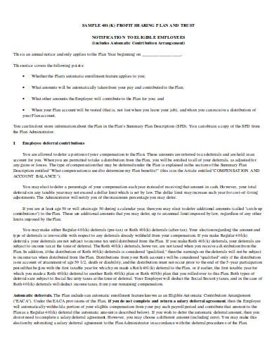eligible profit sharing plan