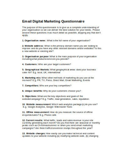 email digital marketing questionnaire template