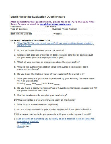 email marketing evaluation questionnaire template