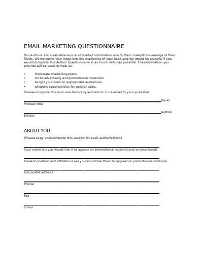email marketing questionnaire template