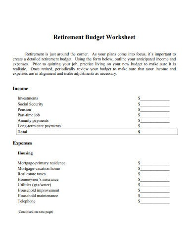 employee retirement budget worksheet