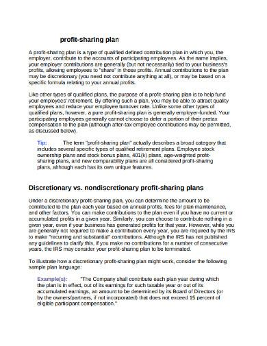 employer profit sharing plan