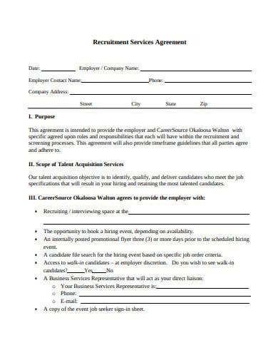 employer recruitment services agreement template
