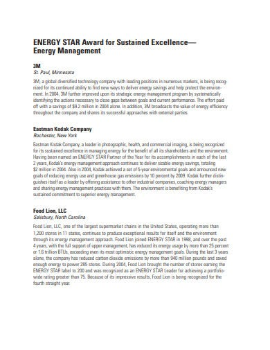 energy star award ceremony program