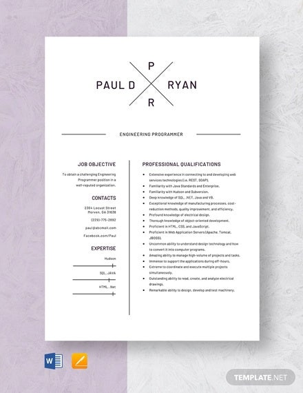 engineering programmer resume template