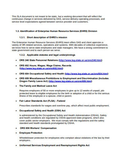 enterprise human resource services level agreement