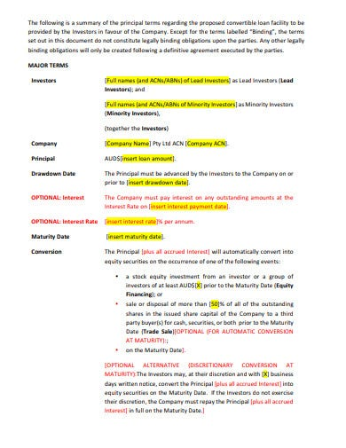 equity business investment term sheet template