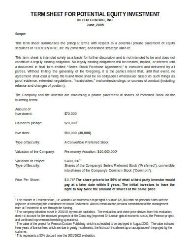 equity investment term sheet format