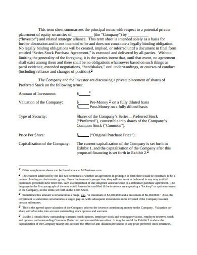 equity investment term sheet template