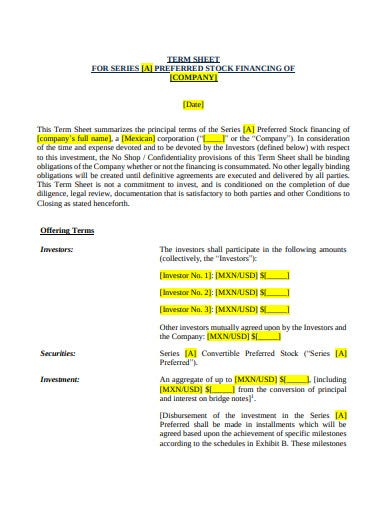 equity investment term sheet in pdf