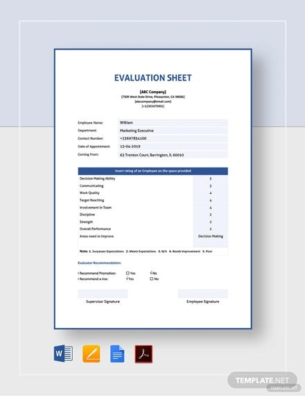 evaluation sheet template