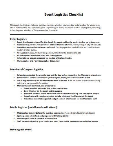 event logistics checklist template