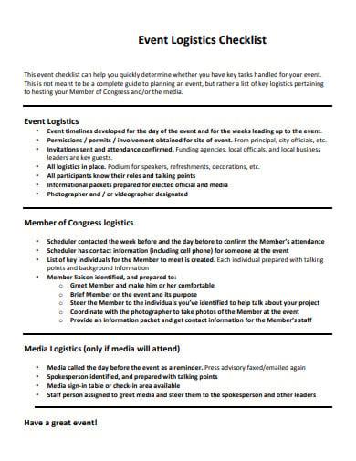 event logistics checklist