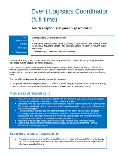 event logistics coordinator job description template