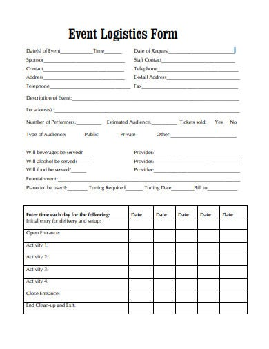 event logistics form