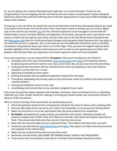 event logistics manual template