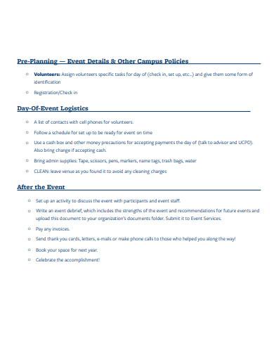 event logistics pre planning template